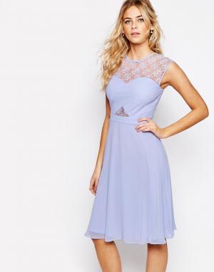 Elise Ryan Платье миди с кружевным топом и перекрестным дизайном. Цвет: фиолетовый