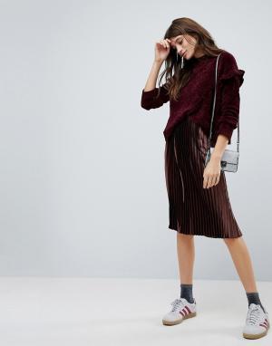 Glamorous Плиссированная юбка миди с эффектом металлик. Цвет: медный