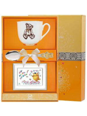 Набор детский Ландыш-Медвежонок Ретро  (чашка + ложка 925 пр. рамка для фото футляр) АргентА. Цвет: серебристый