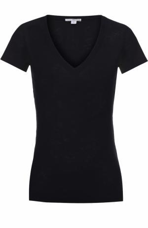 Приталенная футболка с V-образным вырезом James Perse. Цвет: синий