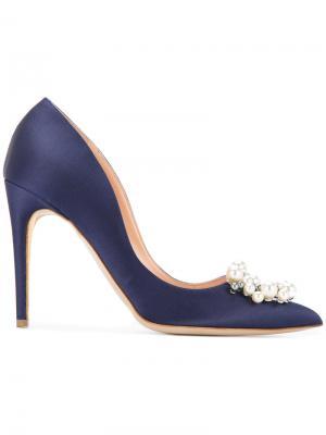 Туфли с брошкой из жемчуга Rupert Sanderson. Цвет: синий