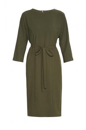 Платье из искусственного шелка и вискозы с поясом 182759 Cyrille Gassiline. Цвет: зеленый