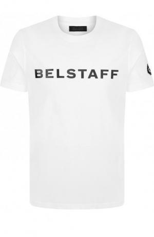 Хлопковая футболка с логотипом бренда Belstaff. Цвет: белый