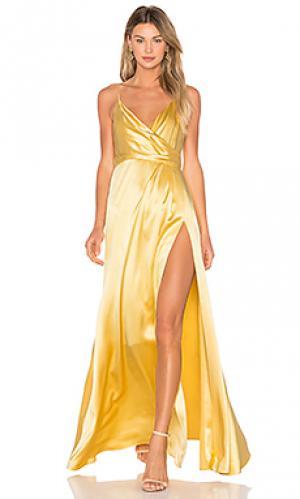 Вечернее платье с запахом JILL STUART. Цвет: желтый