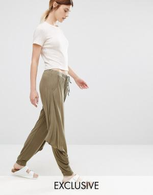 Stitch & Pieces Черные брюки в стиле casual свободного кроя. Цвет: зеленый