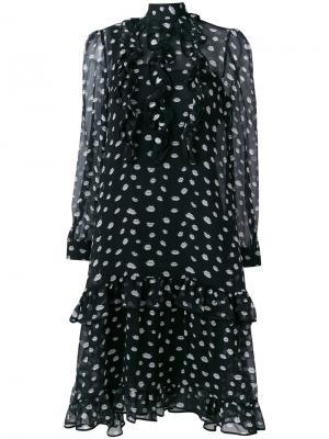 Платье оборочным дизайном с губами Odeeh. Цвет: чёрный