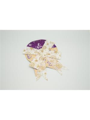 Бант лён белый с золотыми звездамии 1 штук 17см арт.16070  (ДШВ 0,27Х0,17Х0,01 м.) Яркий Праздник. Цвет: белый