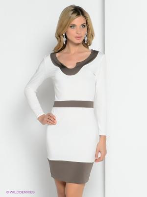 Платье ZAYKINS. Цвет: белый, коричневый