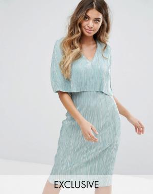 Club L Плиссированное платье миди с верхним слоем в стиле кейпа. Цвет: зеленый