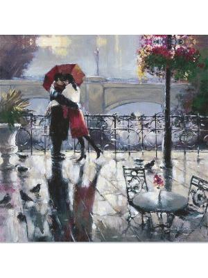 Декоративная шёлковая наволочка Прогулка под дождём  45х45 см Рапира. Цвет: серый, красный, черный