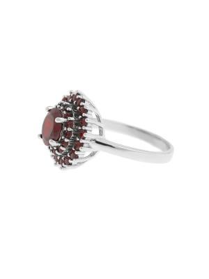 Кольцо Happy Garnets. Цвет: красный, серебристый