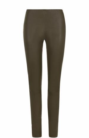 Кожаные брюки-скинни By Malene Birger. Цвет: хаки