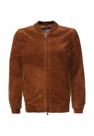 Куртка кожаная Bellfield. Цвет: коричневый