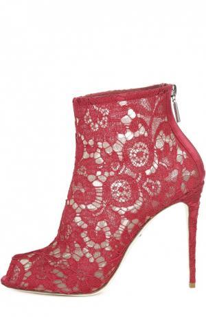 Кружевные ботильоны Bette с открытым мысом Dolce & Gabbana. Цвет: красный