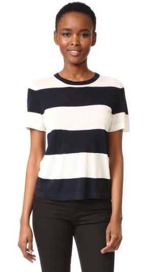 Укороченная футболка с полосками в стиле регби Jenni Kayne. Цвет: цвет слоновой кости/темно-синий