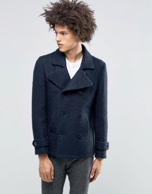 Gianni Feraud Фактурное вязаное пальто Premium. Цвет: темно-синий