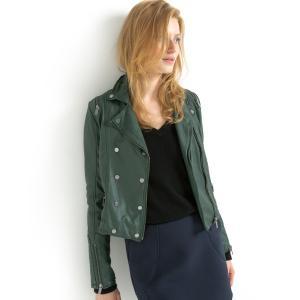 Блузон кожаный La Redoute Collections. Цвет: темно-зеленый