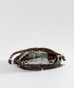 ASOS Набор браслетов. Цвет: коричневый