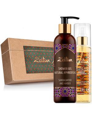 Подарочный набор Сандал и Амбра дезодорант 150 мл гель для душа 250 Зейтун. Цвет: светло-желтый, кремовый