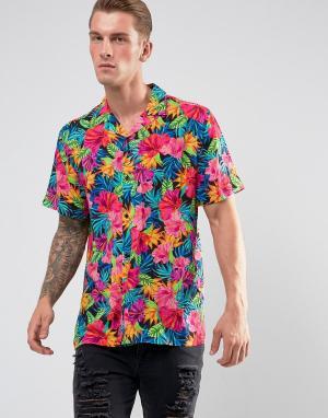 Jaded London Рубашка классического кроя с принтом перьев. Цвет: черный