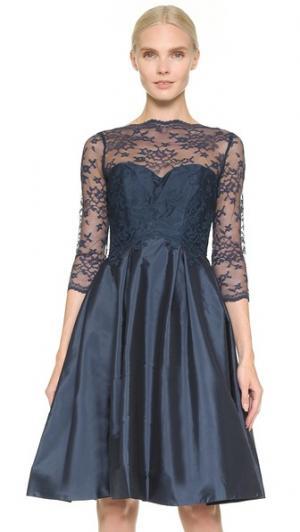 Платье с кружевным лифом и V-образной спинкой Monique Lhuillier Bridesmaids. Цвет: темно-синий