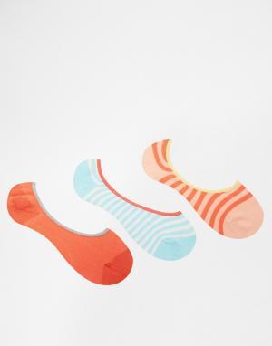Penguin 3 пары носков в полоску. Цвет: коралловый в полоску