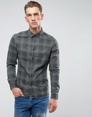 ASOS Джинсовая рубашка скинни в клетку. Цвет: зеленый