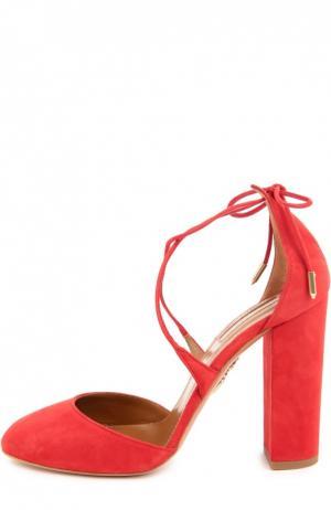 Замшевые туфли Karlie на устойчивом каблуке Aquazzura. Цвет: красный