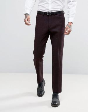 ASOS Узкие брюки из шотландского твида 100% шерсти. Цвет: красный