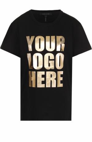 Хлопковая футболка с металлизированной надписью Marc Jacobs. Цвет: черный