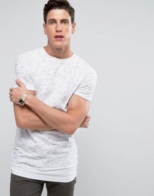 Bellfield Меланжевая удлиненная футболка с ярусным краем. Цвет: серый