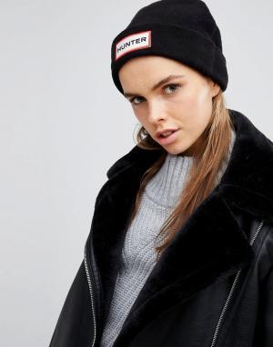 Hunter Черная флисовая шапка Original. Цвет: черный