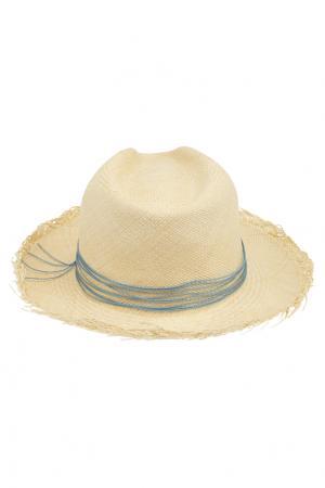 Соломенная шляпа Clasico Natural Brisa Artesano. Цвет: кремовый, голубой