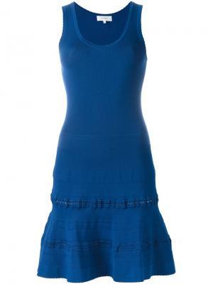 Приталенное расклешенное платье Carven. Цвет: синий