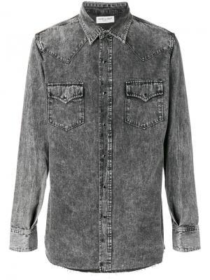 Джинсовая рубашка с линялым эффектом Saint Laurent. Цвет: чёрный