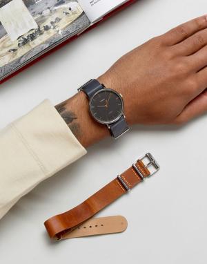 Timex Часы со сменными кожаными ремешками коричневого/черного цвета Fa. Цвет: рыжий