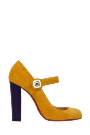 Замшевые туфли Bibaba 100 Christian Louboutin. Цвет: желтый