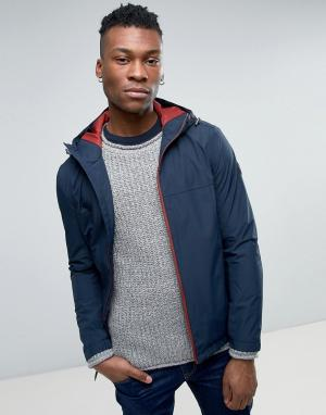 Timberland Узкая куртка-дождевик с капюшоном. Цвет: темно-синий