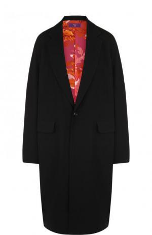 Однотонное шерстяное пальто свободного кроя Yohji Yamamoto. Цвет: черный