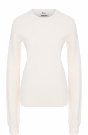 Пуловер прямого кроя с круглым вырезом Acne Studios. Цвет: белый