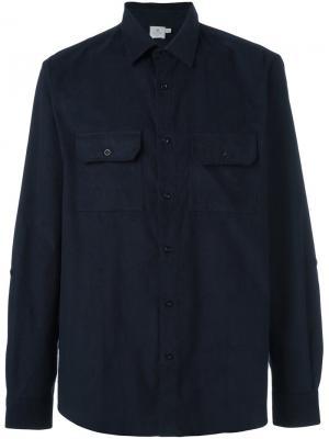 Вельветовая рубашка с двумя карманами Sunspel. Цвет: синий
