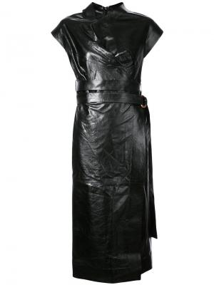 Belted metallic midi dress Proenza Schouler. Цвет: чёрный