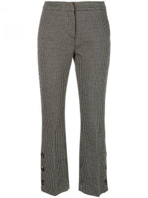 Укороченные жаккардовые брюки с пуговицами Ki6. Цвет: чёрный