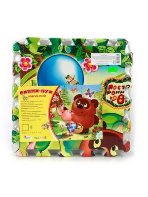 Коврик-пазл Играем Вместе Винни-пух 8 сегментов (31.5*31.5 см). Цвет: зеленый, коричневый, синий
