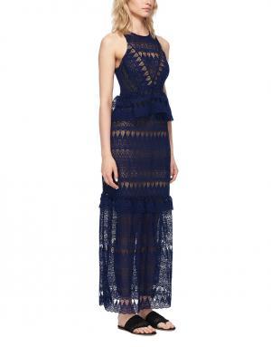 Кружевное платье Self-Portrait. Цвет: синий