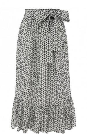 Хлопковая юбка-миди с поясом Lisa Marie Fernandez. Цвет: черно-белый