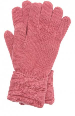 Вязаные перчатки из кашемира Kashja` Cashmere. Цвет: розовый