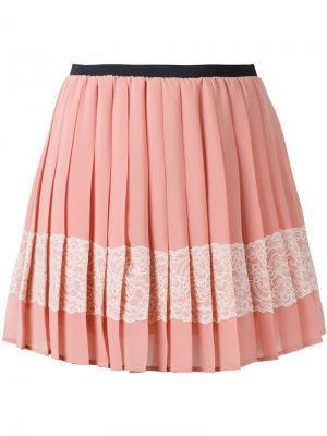 Декорированная креповая мини-юбка Red Valentino. Цвет: розовый и фиолетовый