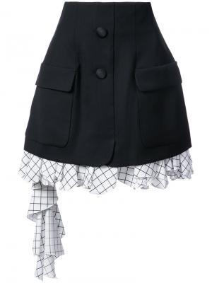 Многослойная юбка строгого кроя Monse. Цвет: чёрный