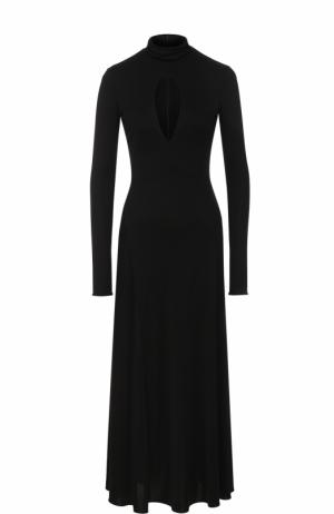 Приталенное платье-миди с длинным рукавом Emilio Pucci. Цвет: черный